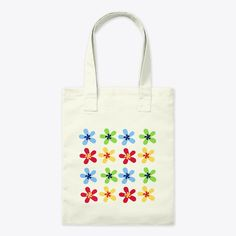 Colourful red, green, blue, and yellow flower design. Flower Canvas, Red Green, Blue, Yellow Flowers, Canvas Tote Bags, Flower Designs, Reusable Tote Bags, Just For You, Pretty