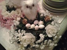 White flowers and owl w/ egg basket.
