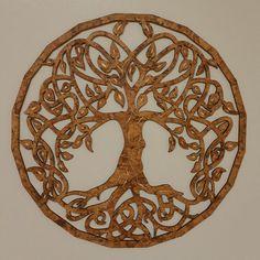 Baum des Lebens Wandbild Eckig Holz Ø 39 cm  Keltik-Lebensbaum   Dekoration   Wandbild-Rund   Dunkle Wanddeko Baum   Verschiedene Designs   Dekobaum  Wanddekor groß  Holzbaum ideale Geschenkidee