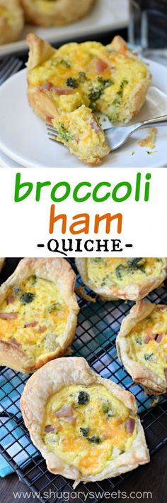 Broccoli Ham Quiche- a great way to use up leftover ham! @shugarysweets