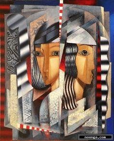 figuratief vereenvoudigd portret schilderij