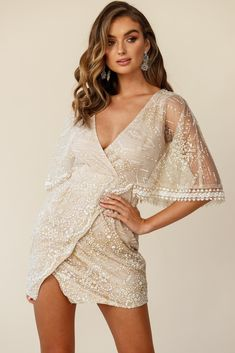 Shop the Lady Luck Cape Sleeve Wrap Dress Champagne exclusively at Selfie Leslie! Sexy Birthday Dress, Girls Party Dress, Sexy Party Dress, Hot Dress, Sexy Dresses, Nice Dresses, Casual Dresses, Party Dresses, Dress Red