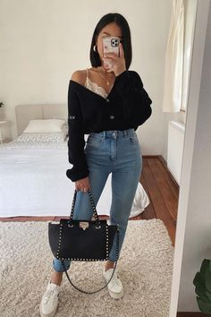 First Date Outfit Casual, Date Night Outfit Classy, Cute Date Outfits, First Date Outfits, Cute Casual Outfits, Simple Outfits, Stylish Outfits, Classy Jeans Outfit, Black Trousers Outfit Casual