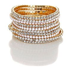 "R.J. Graziano ""White Fantastic"" Set of Ten Stretch Bracelets"