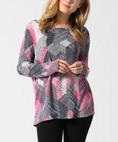 Pink & Gray Chevron Tunic