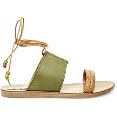 Steve Madden Women's Raynne Sandals ($90) ❤ liked on Polyvore featuring shoes, sandals, flats, green multi, lace-up sandals, lace up flat sandals, green flat sandals, leather lace up sandals and beaded sandals