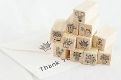 Set of 12 wooden stamps flowers