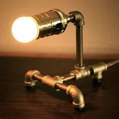 Small Red Brass Pipe Steampunk Desk Lamp by loglow on Etsy, $80.00