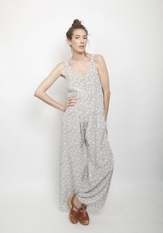 Wally Jumpsuit in Foxtail Print, Washed Crepe de Chine