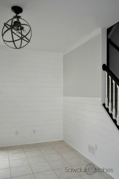 Faux Shiplap Walls - Sawdust 2 Stitches. Shiplap painted Behr, Pure White. Walls: Silver Birch, Glidden at Home Depot. Interior Walls, Interior Design Living Room, Faux Shiplap, White Paint Colors, Ship Lap Walls, Home Projects, Diy Home Decor, House Design, Pure White