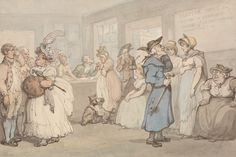 Thomas Rowlandson, 1756–1827, British, Register Office for the Hiring of Servants, between 1800 and 1805, Watercolor with pen and brown and gray ink over graphite on moderately thick, moderately textured, blued white, wove paper, Yale Center for British Art, Paul Mellon Collection