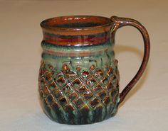 ceramic pottery mug handthrown stoneware. Love the texture! Looks like a mermaids tail.