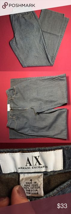 Armani exchange jeans Excellent condition no signs of wear. Lying flat and unstretched waist measures approximately 12 1/2 inches inseam approximately 30 inches rise approximately 9 inches out seem approximately 39 inches A/X Armani Exchange Jeans Boot Cut