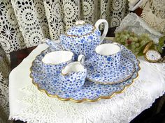 Chintz Blue and White Teapot Teacup and Saucer