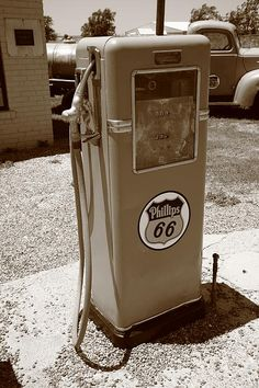 Route 66 - Phillips 66 Gas Pump, Sepia. On old Rt. 66 in McLean, Texas.