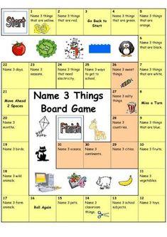Board Game - Name 3 Things (Easy)