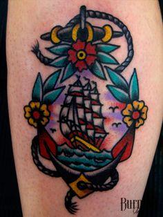 BURNOUT INK : Ship-Anchor Tattoo