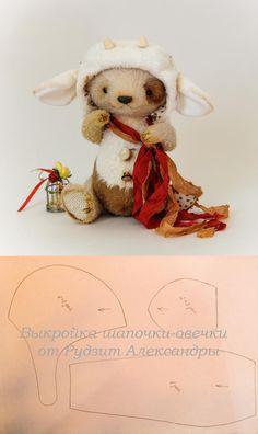выкройка шапочки - овечки для медвежонка тедди / Pattern hat lamb Teddy Bear