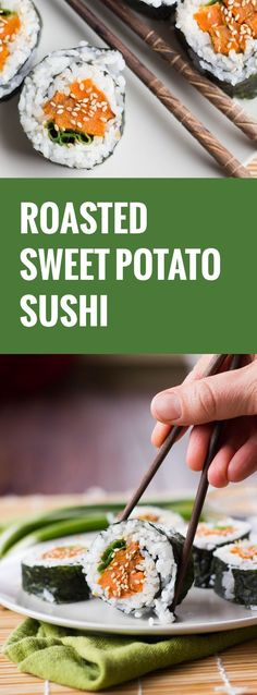 Sweet potatoes are roasted up with maple syrup and sesame oil, rolled in rice coated nori sheets and sprinkled with toasted sesame seeds to make these flavorful sweet potato sushi rolls.