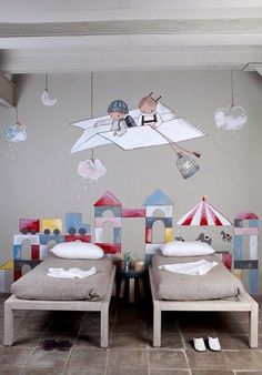 "Stencil ""Mural infantil"", by EstudioStencil (Spain) Deco Kids, Shared Bedrooms, Kids Room Design, Wall Design, Kid Spaces, Small Spaces, Kids Decor, Decor Ideas, Boy Room"