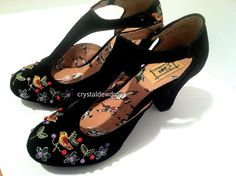 Anthropologie New Songbird Embroidered T Straps - heels I would wear.