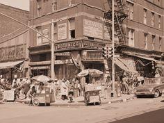 "Street scene of people at small shops in Spanish Harlem ""El Barrio"" in ..."