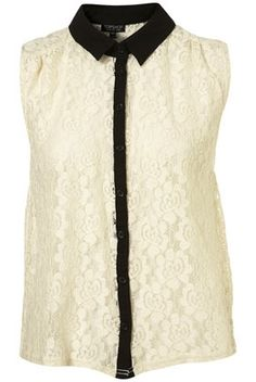 Sleeveless Contrast Lace Shirt - Jersey Tops - Clothing - Topshop USA - StyleSays