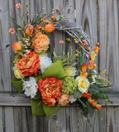 Coral Peach Yellow and Green Spring Peony Wreath, by IrishGirlsWreaths, $129.99 - *SOLD!*