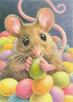 """Jelly Bean Mouse"" by Lynn Bonnette  can just see a little felt mouse in candy dish peeking out of jelly beans!!!"