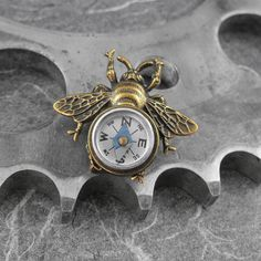 Steampunk Compass Bee Golden Brooch  Flight by COGnitiveCreations, $45.00