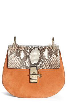 82b6b63650 Chloé  Small Drew  Suede   Genuine Python Shoulder Bag