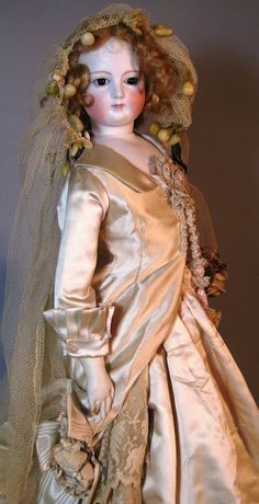 Antique French Fashion Bisque Head Doll Bride, Large, Beautiful!
