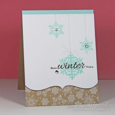 Welcome to the Curtain Call Inspiration Challenge! We have something a little sweet and a little snowy for you today. a Sweet . Snowflake Cards, Christmas Snowflakes, Xmas Cards, Holiday Cards, Handmade Christmas, Christmas Crafts, Snowman Cards, Cardmaking And Papercraft, Curtain Call