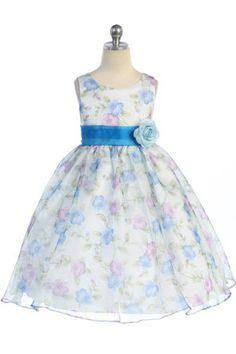 Blue Floral Printed Sleeveless Fower Girl Dress K199-BU
