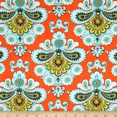 For an accent pillow for our bed {Amy Butler Belle French Wallpaper Orange}