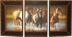 "3 Pc. Rush Hour Photo Art Stunning ! These three prints combine to make an unforgettalbe statement about your equine passion. 48""w x 24""h overall printed on imitation leather, complete with decorative metal corners and ready to hang. Features embossed faux leather borders, and accented with antique brass colored tacks. Curved front."