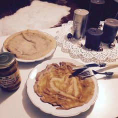 Pancakes with applesauce, Yummy! Home Sweet home