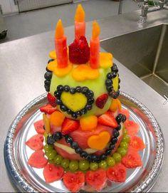 Fruit cake. Literally. Fruit Birthday Cake, Bithday Cake, Healthy Fruit Cake, Fruit Cakes, Watermelon Cakes, Fun Fruit, Fruit Dessert, Colorful Fruit, Fruit Art