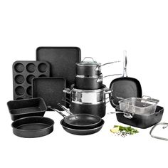 $184.39 #AD Best Deals Online-Granitestone Pots and Pans Set, 20 Piece Complete Cookware + Bakeware Set with Ultra Nonstick 100% PFOA Free–Includes Frying Pans, Saucepans, Stock Pots, Steamers, Cookie Sheets and Baking Pans