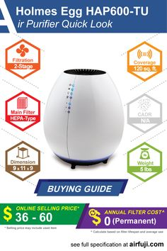 Holmes Egg HAP600-TU review, price guide, filter replacement cost, CADR and complete specification. #holmes #airpurifier #aircleaner #cleanair