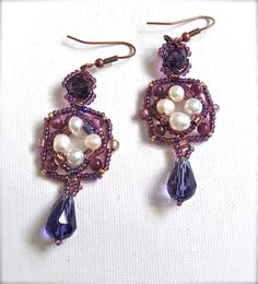 Handmade beaded earring purple pearl drop dangle by fatash1