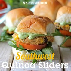 Southwest Quinoa Sliders | 1/4 cup grated Parmesan ~  1/4 cup panko ~  2 T all-purpose flour ~  1 t cumin ~  1 t garlic powder ~  1/2 t chili powder ~  1-2 T pureed chipotle peppers, in adobo sauce ~  1 T freshly squeezed lime juice ~  2 large eggs ~  1/2 cup whole kernel corn ~  1/2 cup canned black beans, drained and rinsed ~  salt & black pepper, to taste Olive oil
