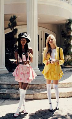 517ef6a5a6d skirt top tank hat 90 s pink yellow black white shoes high knee socks  blazer bag backpack