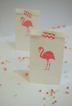 Items similar to Flamingo party favor / treat bags on Etsy Pink Flamingo Party, Flamingo Decor, Flamingo Birthday, Flamingo Cupcakes, Bachlorette Party, Luau Party, First Birthday Parties, First Birthdays, Tropical Party