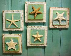 Starfish Sign Wall Art Beach House Decor - One Plaque of Your Choice Could do something like this but add burlap??