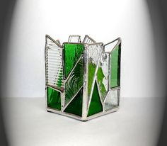 Green And Clear Stained Glass Candle Holder by AfricanSand on Etsy, $45.00