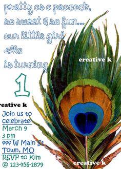 1st Birthday peacock invitation customizable by CreativeKDesigns14