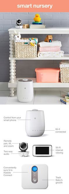 The future of the smart nursery is here. Wait. What is a smart nursery? It's an interactive, Wi-Fi or Bluetooth enabled way to keep you and your baby connected via smartphone or tablet. It's the easiest way to give you peace of mind while multitasking at home. Smart monitors and alert systems, smart sound machines, humidifiers, thermometers and more. The list goes on and on. They are a truly smart addition to your Baby Registry.
