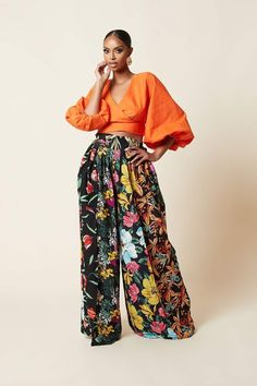 African Print Clothing, African Print Fashion, Inverted Triangle Outfits, Pantalon Long, African Wear, African Dress, African Fabric, Wide Leg Trousers, Everyday Fashion