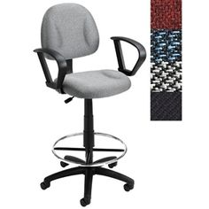 LOOP ARM OFFICE DRAFTING STOOL WITH CONTOURED BACK